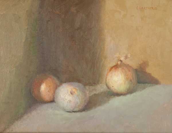 C. Barthold Oil still life of onions at Fry Fine Art