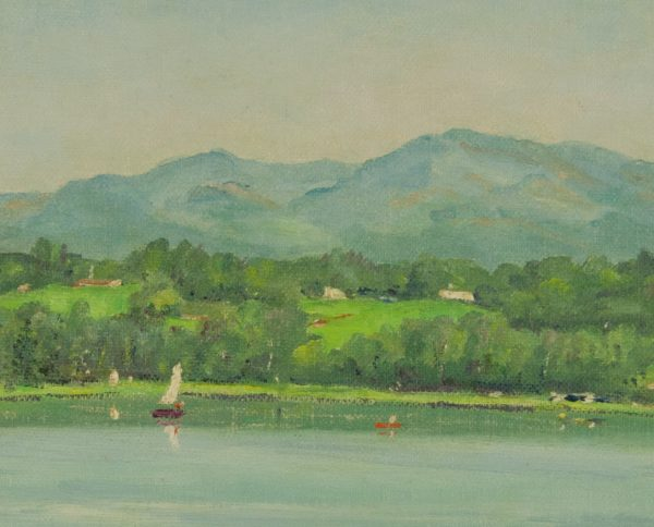 Henry Curtis Ahl painting of Seven Tree Lake Union Maine at Fry Fine Art.