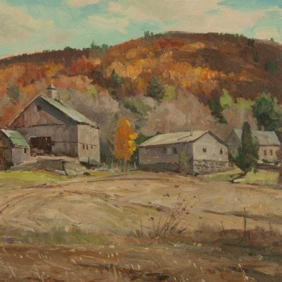 Bernard Corey oil painting of a Dudley Massachusetts Farm at Fry Fine Art