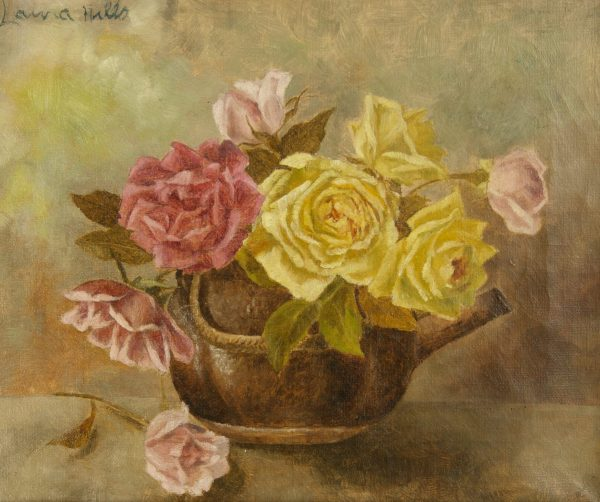 Laura Coombs Hills still life oil painting of roses in a tea pot at Fry Fine Art