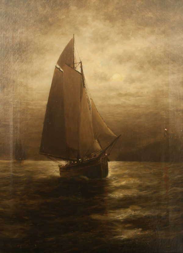 Wesley Elbridge Webber Ship at Midnight Oil on Canvas Painting at Fry Fine Art