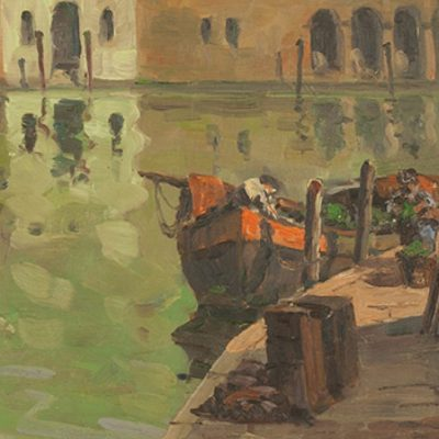 George Turland Goosey Oil painting of Venetian Canal