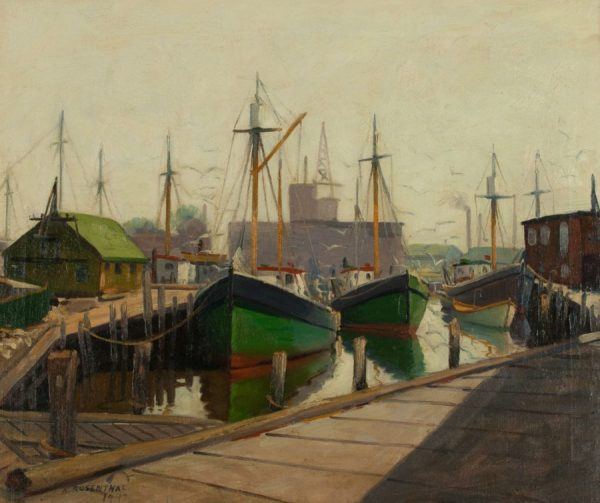 Abraham Rosenthal Oil painting of New England Harbor