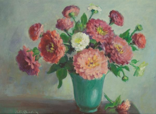 Juliet Burdoix Floral Arrangement Oil on Board 12 x 16 Fry Fine Art