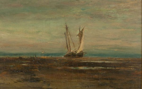 Homer Doge Martin Sailboat at Shore Oil on board painting for sale at Fry Fine Art