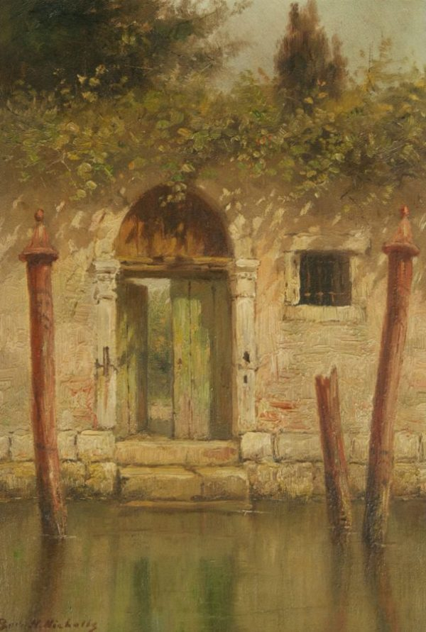 Burr H. Nichols Glimpse of a Garden, Venice Oil Painting