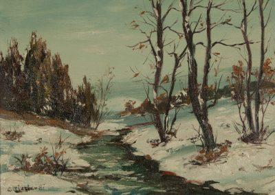 Cesare Ricciardi Oil painting of Winter Brook for sale at Fry Fine Art