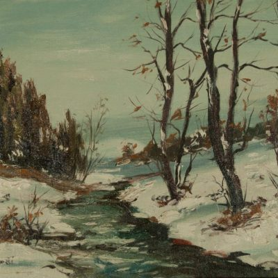 Cesare Ricciardi Oil painting of Winter Brook for sale at Fry Fine Art