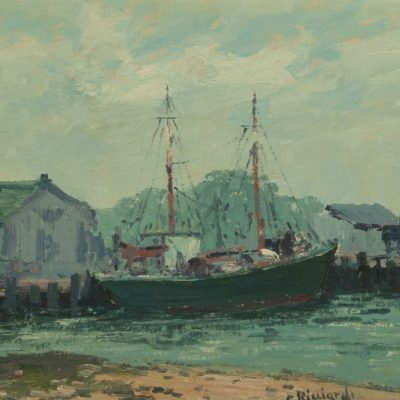 Cesare Ricciardi (1892-1973) oil painting of Harbor Scene at Fry Fine Art.