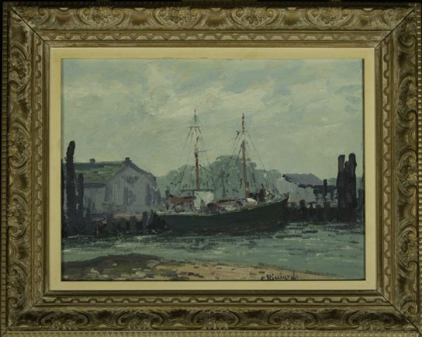 Cesare Ricciardi (1892-1973) oil painting of Harbor Scene at Fry Fine Art.
